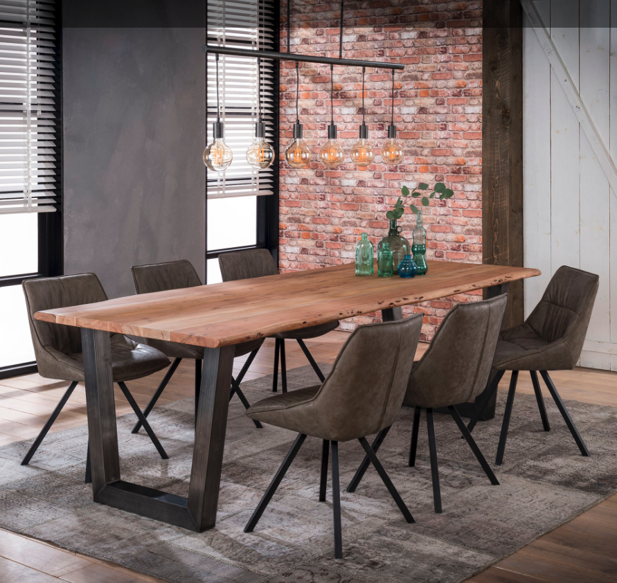 Large Industrial Style Steel Legged Dining Table With Thick Wooden