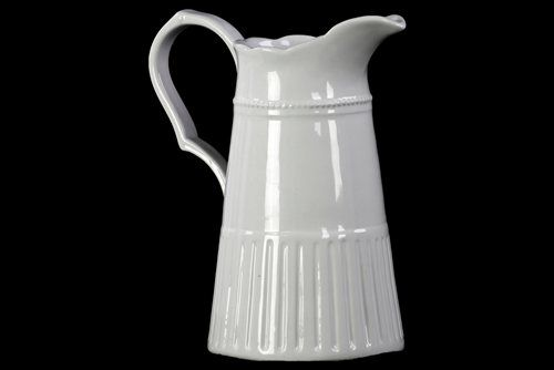 Ceramic Pitcher with Handle and Corrugated Bottom Gloss White