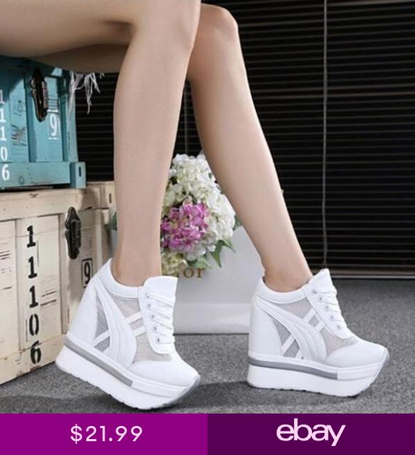 2019 Women/'s Lace Up Hidden Wedge Heel Platform Sneakers Trainer Tennis Shoes