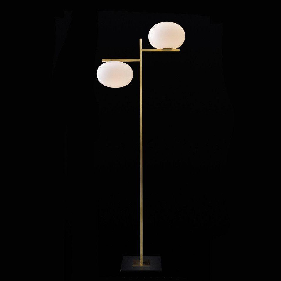 Lampadaire ALBA 383 laiton opale LED ˜28 5cm H172cm OLUCE