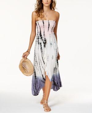 Raviya Tie-Dyed Waterfall-Hem Tube Dress Cover-Up - White ...
