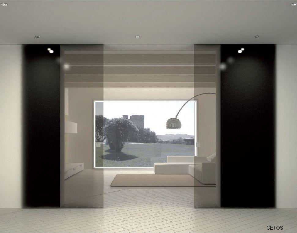 Porta in vetro scorrevole a due ante con guida incassata porte interne e divisori in vetro - Porta a vetri scorrevole ...