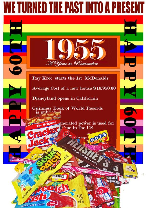 60th Birthday Retro 1955 Candy Box Jr with by NaturallyGiftedNY