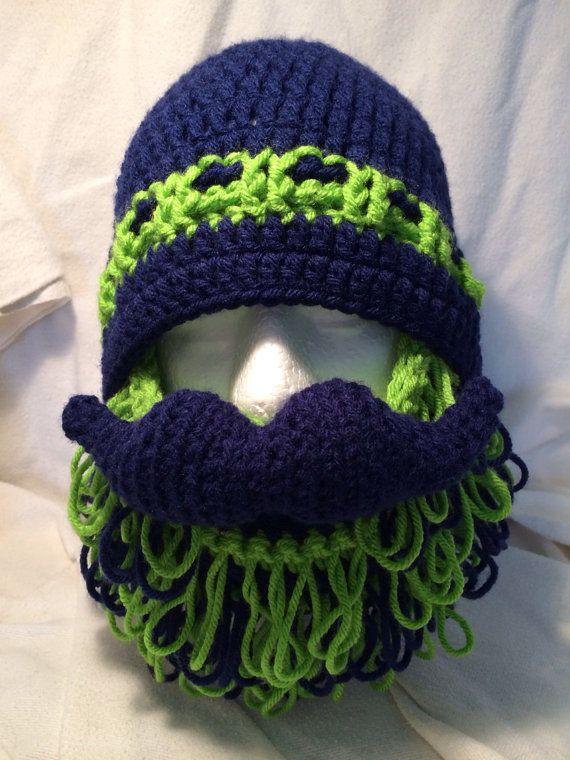 Seattle Seahawks Super Shaggy Beard and Mustache Hat   Sports ...