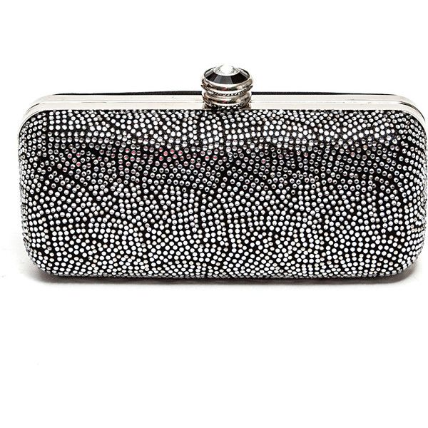Lady Couture Black & Silver Beauty Clutch ($25) ❤ liked on Polyvore featuring bags, handbags, clutches, lady couture, rhinestone purses, black and silver purse, sparkly purses and rhinestone clutches