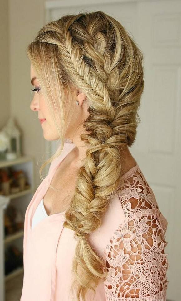Beautiful Long Hair Style Side Braid Fishtail Braid Simple Elegant - Minimalist herringbone braid Review