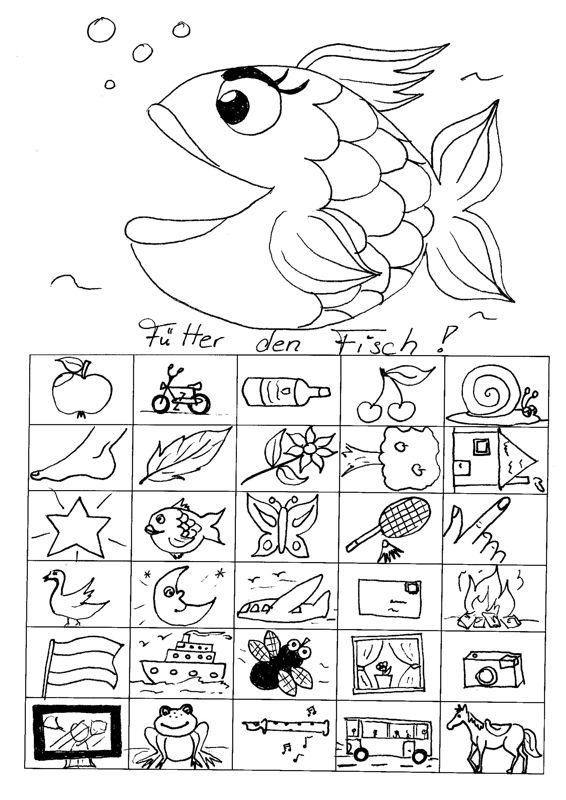 Arbeitsblatt Fische Grundschule : Füttere den fisch dyslalie kleine bilder laute und