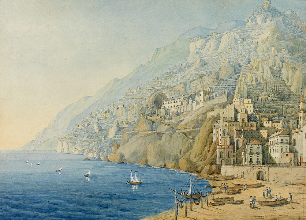 GATE OF SORRENTO ITALY ITALIAN CAPRICE LANDSCAPE PAINTING ART REAL CANVAS PRINT