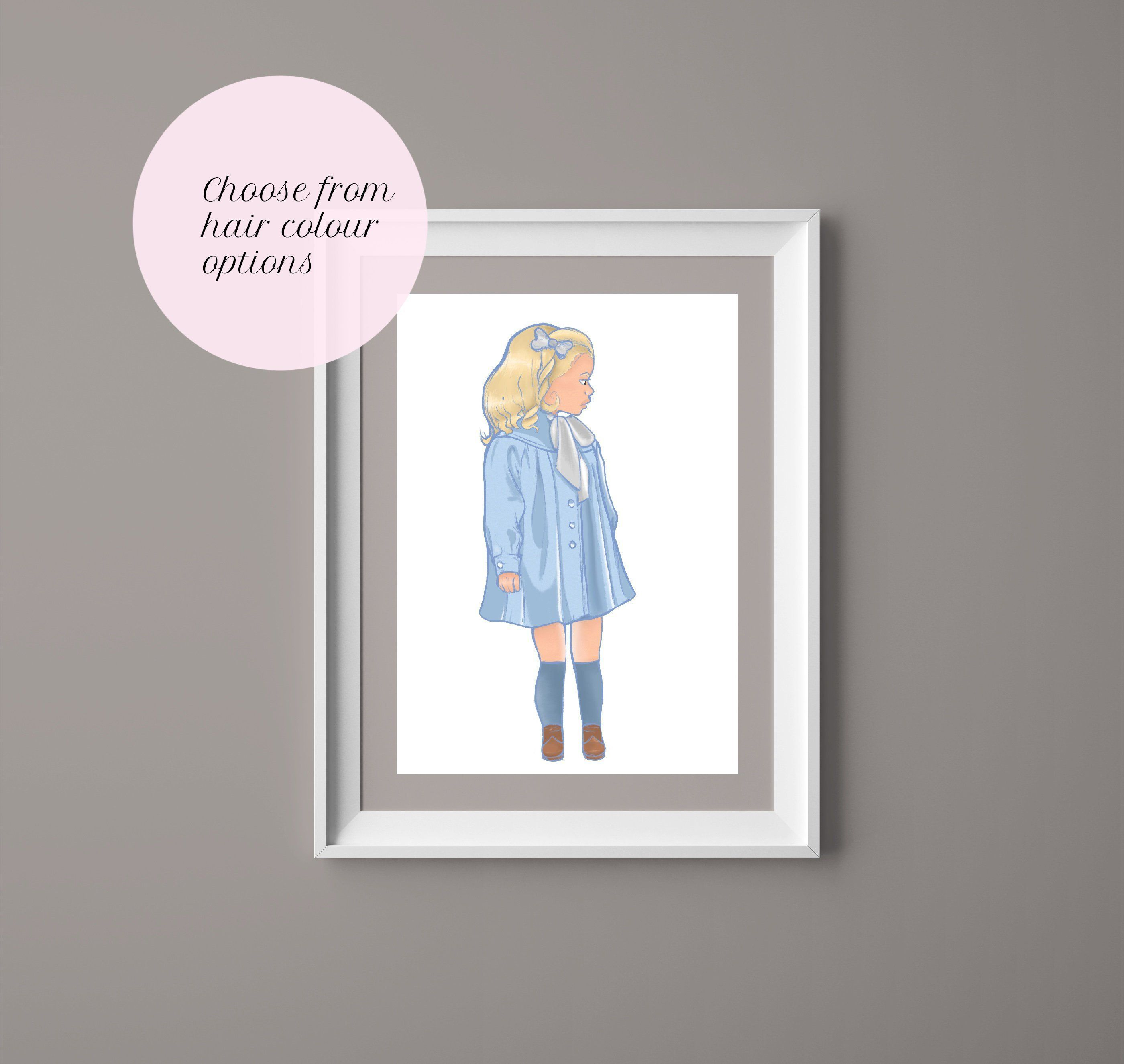 Pretty Little Girl With The Blue Dress On Nursery Art Digital Art Print Wall Diy Wall Decor For Bedroom Nursery Wall Decor Girl Wall Decor Quotes
