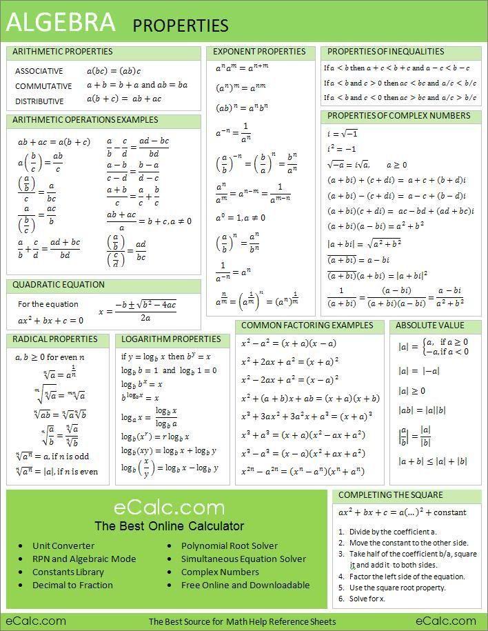 printable cheat sheets algebra homework and math algebra properties because i m a math retard and can t help