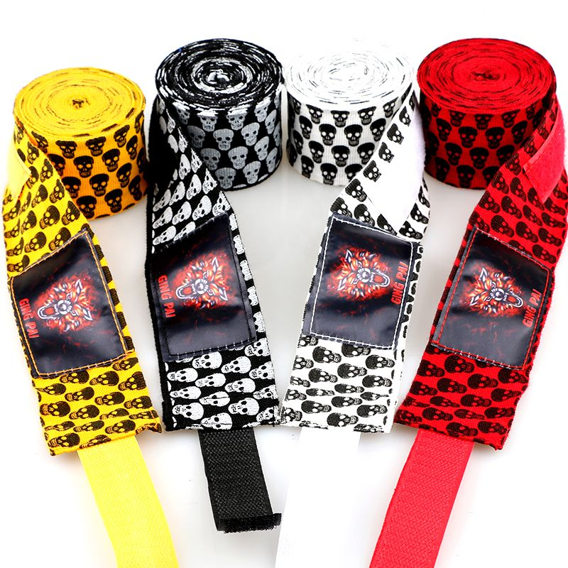 Boxing Hand Wrap Inner Gloves Wrist Protector Bandages Mitts Skull Print