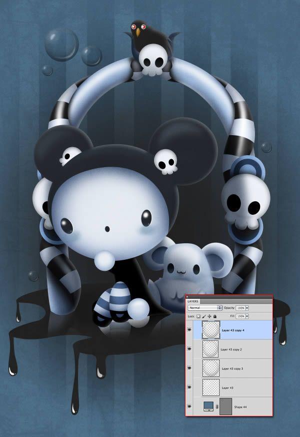 http://design.tutsplus.com/tutorials/create-a-cute-and-scary-childrens-illustration-in-photoshop--psd-17843