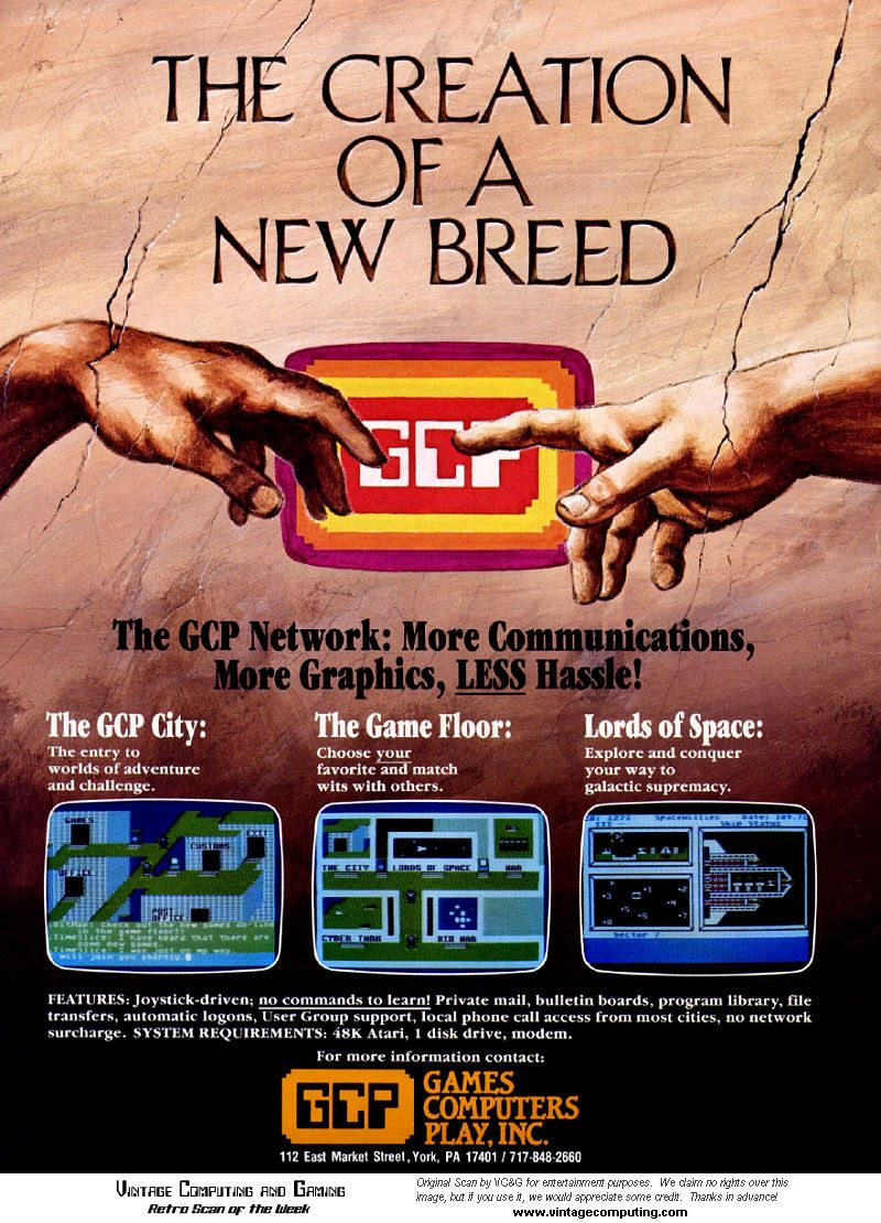 Advertisement for the games computers play gcp service