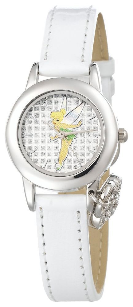 DISNEY WOMEN'S TINKERBELL TK1009 WHITE PATENT STRAP WITH CHARM WATCH