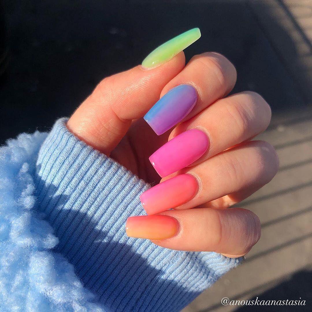 Parisian Fashion On Instagram Rainbow Nail Vibes Anouskaanastasia Solid Color Nails Vibrant Nails Gel Nails