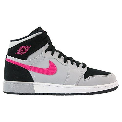 classic fit 5444f 168b7 Nike Girl s Air Jordan 1 Retro High GS Basketball Shoe Black Deadly  Pink-Wolf Grey-White 7Y