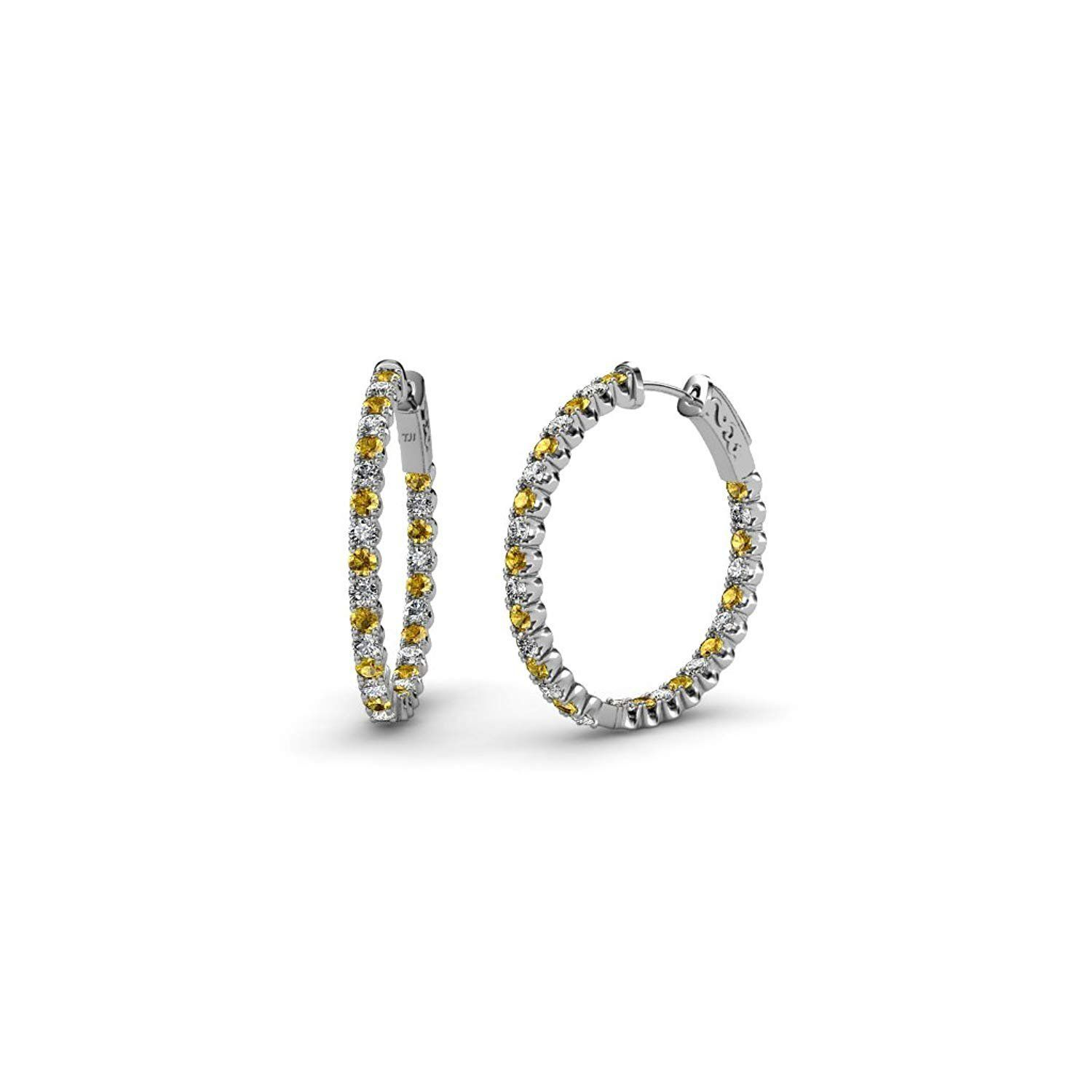 Citrine and Diamond SI2 I1 G H Inside Out Hoop Earrings 1 32 ct