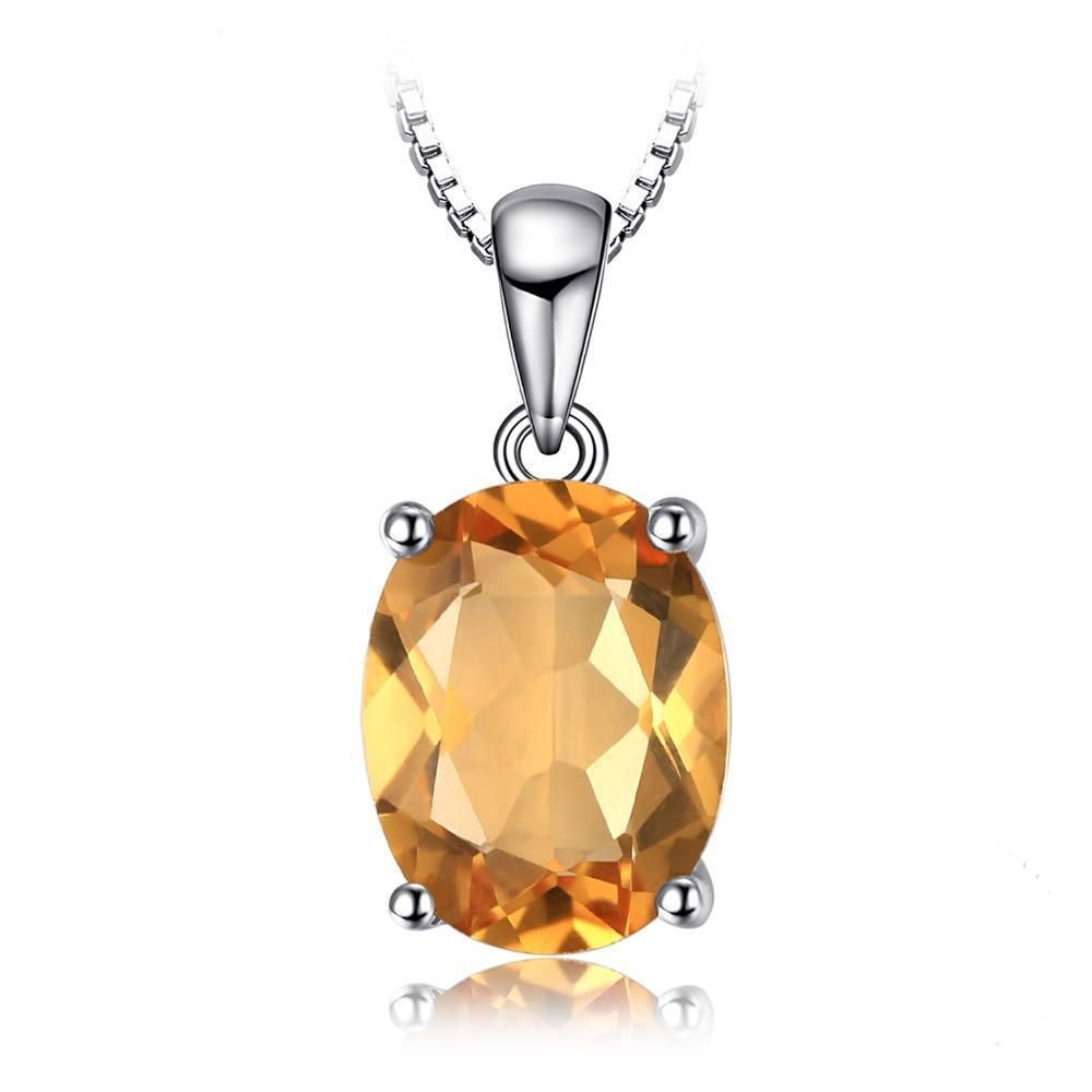 1.7 ct Citrine Solitaire 925 Sterling Silver Pendant