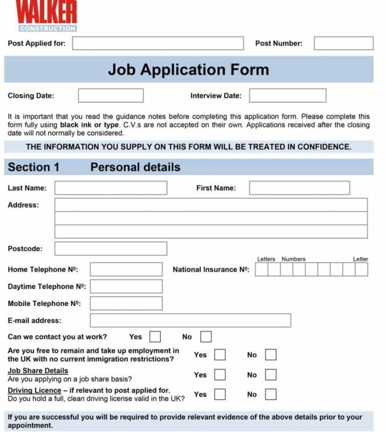 Employee Application Form Tax Registration Template