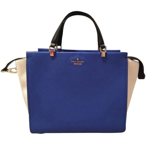 Pre-owned Kate Spade Chelsea Square Hayden Colorblock- Blue, White,... (€245) ❤ liked on Polyvore featuring bags, handbags, white handbags, black white purse, square purse, kate spade purses and blue purse