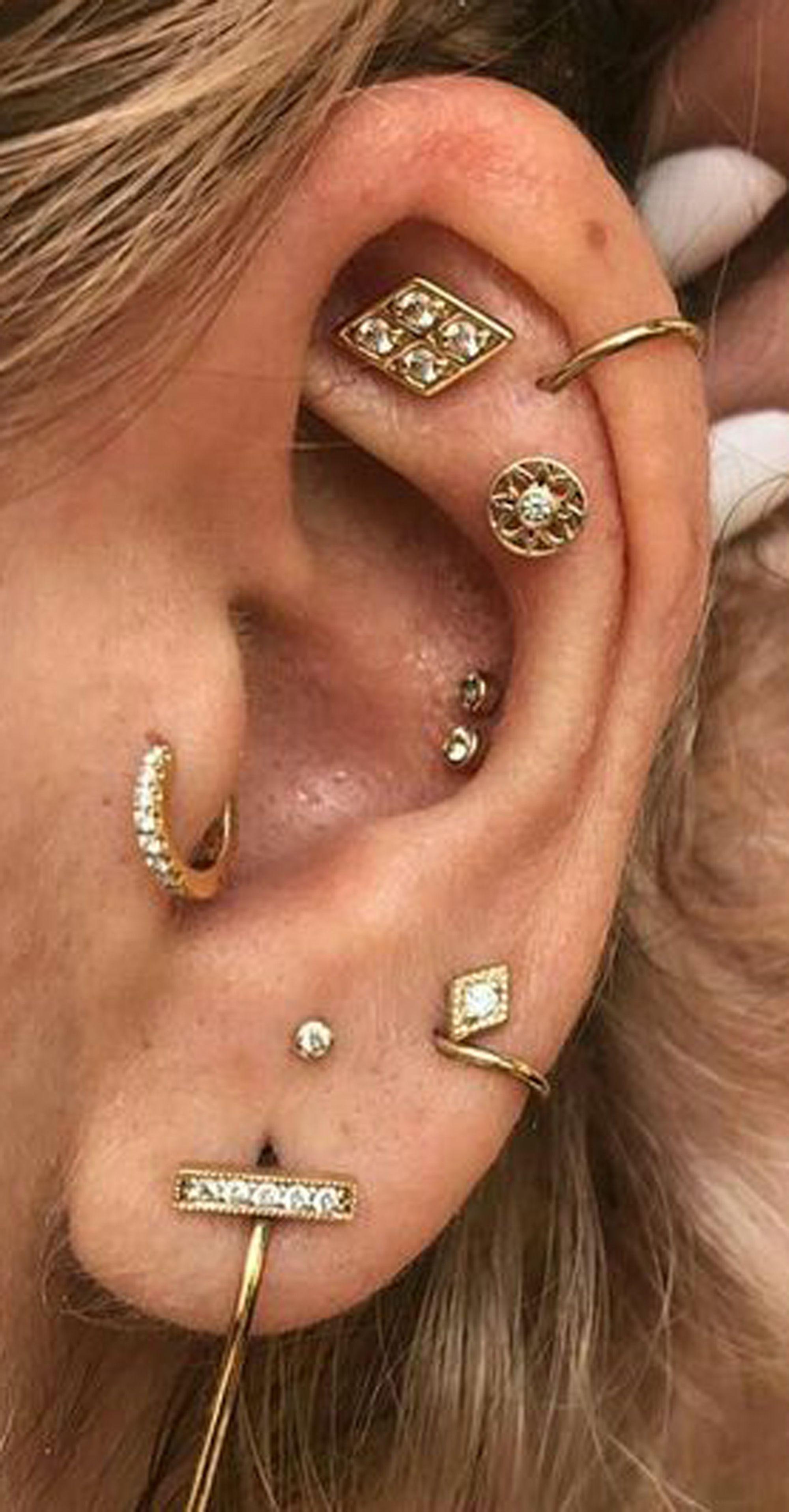 Cute Multiple Ear Piercing Ideas Cartilage Helix Tragus Conch Jewelry  pinterest @ mybodiart | Body piercing jewelry, Ear cuff, Silver drop  earrings