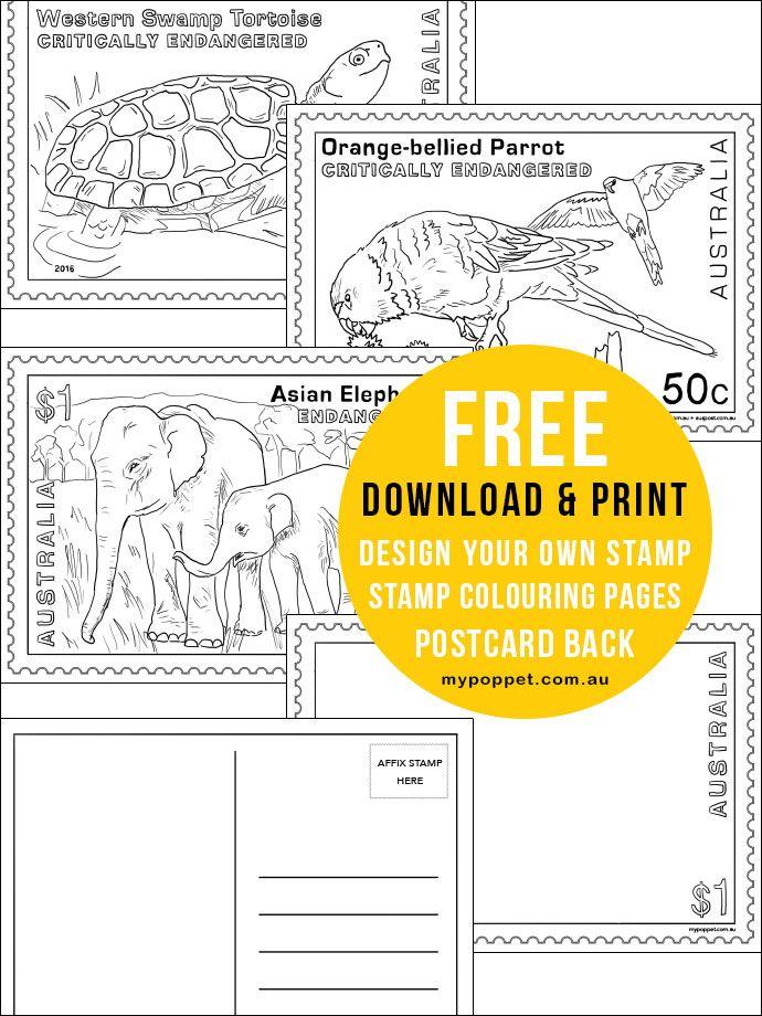 Giant Stamp Postcard With Printables Printable Postcards Free