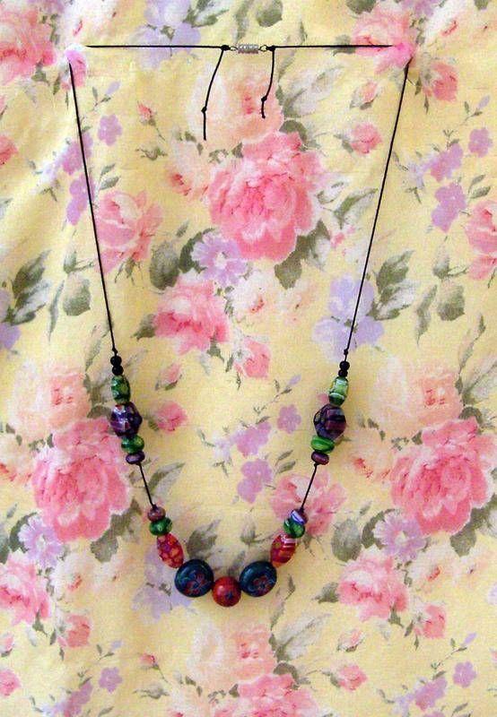 Collier Indiane verre fleuri - collier long - Les Bijoux d'Amandine - Fait Maison   Collier long
