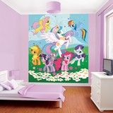 This is a bright and colourful mural from Walltastic, perfect for your childs bedroom or playroom. It contains many of the My Little Pony favourites in a magical and playful scene, which will liven up a bedroom of any size. The mural comes in a pack of 8 panels, allowing you to organise it according to the space you have available. Overall Dimensions: 8ftx6ft 6 Individual Panel Dimensions: 20x48 Special order please note this product has a delivery lead time of 7 - 9 working days