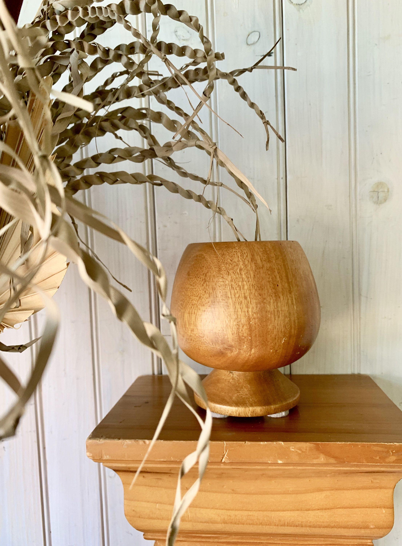 Vintage Tropical Wood Pedestal Vase Made in Philippines