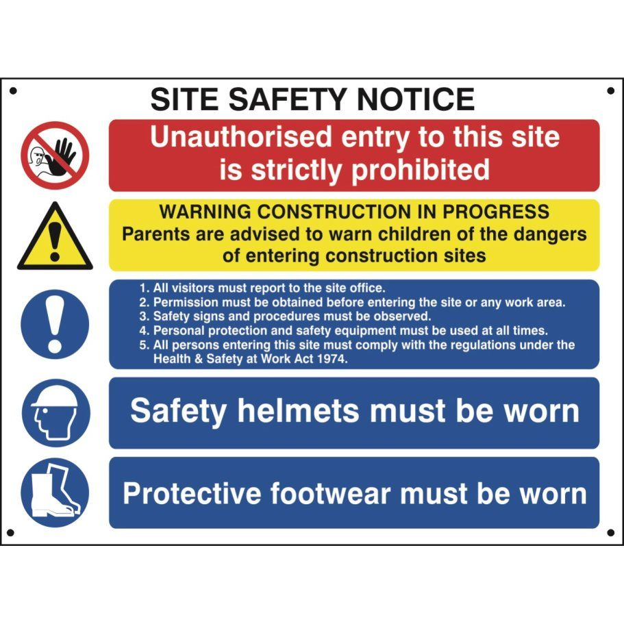 Site Safety Notice for Construction Sites Construction