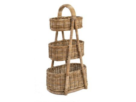 Rattan Vegetable Rack | Wicker Vegetable Stand | 3 Tier Storage Rack |  Wicker Shelf Unit