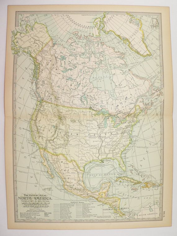 1901 North America Map United States Canada Map Mexico Central