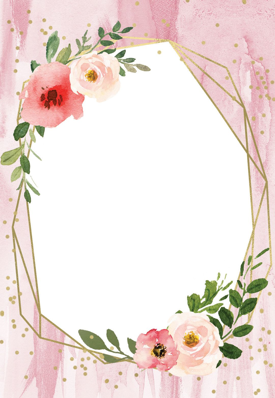 Polygonal Frame And Blush Flowers Quinceanera Invitation Template Greetings Island Floral Border Design Flower Frame Floral Invitations Template