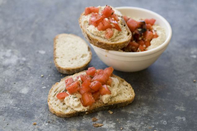 Italian-style hummus with diced tomatoes