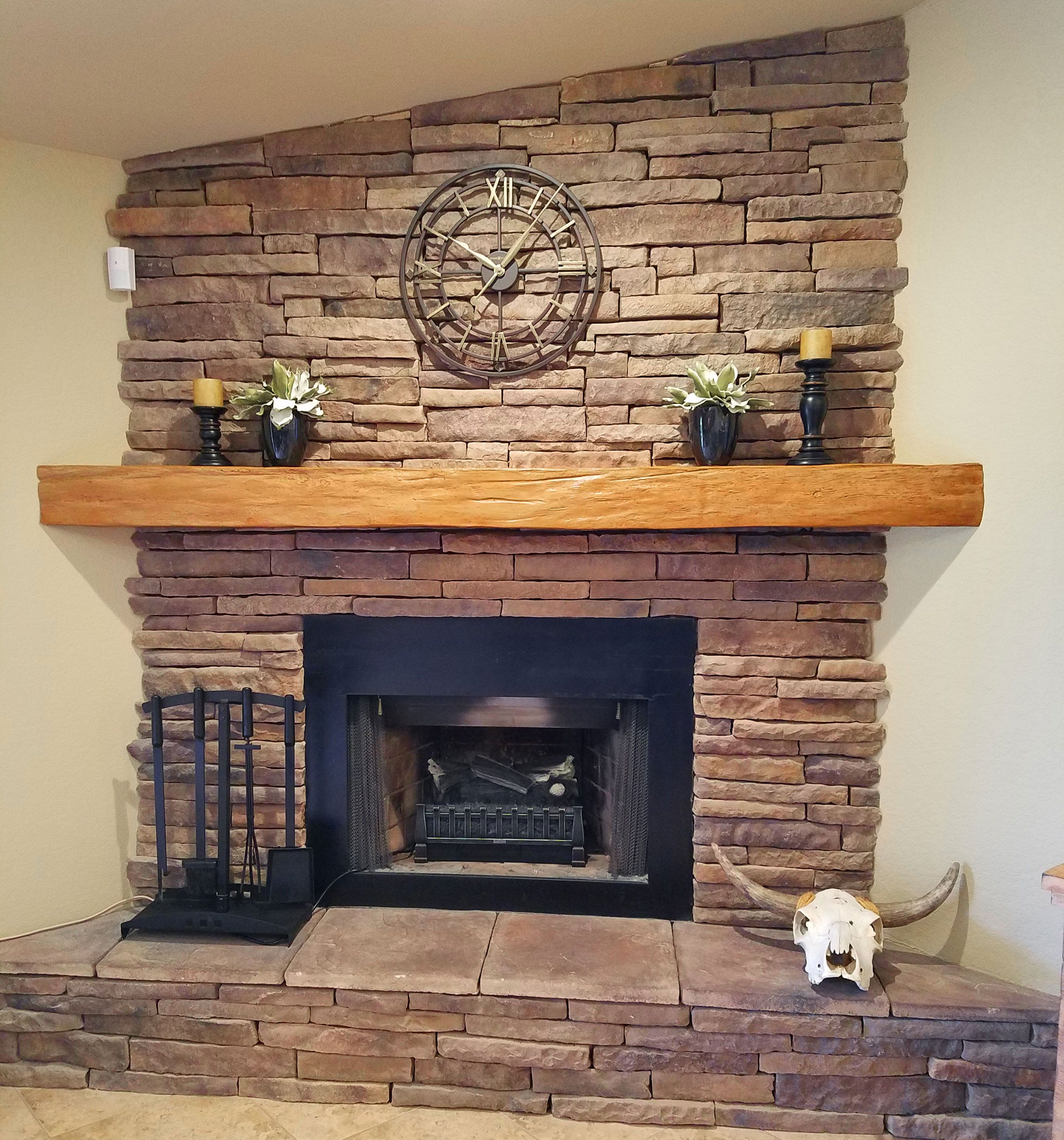 Endurathane Faux Wood Beam Used As Shelf On Mantel For