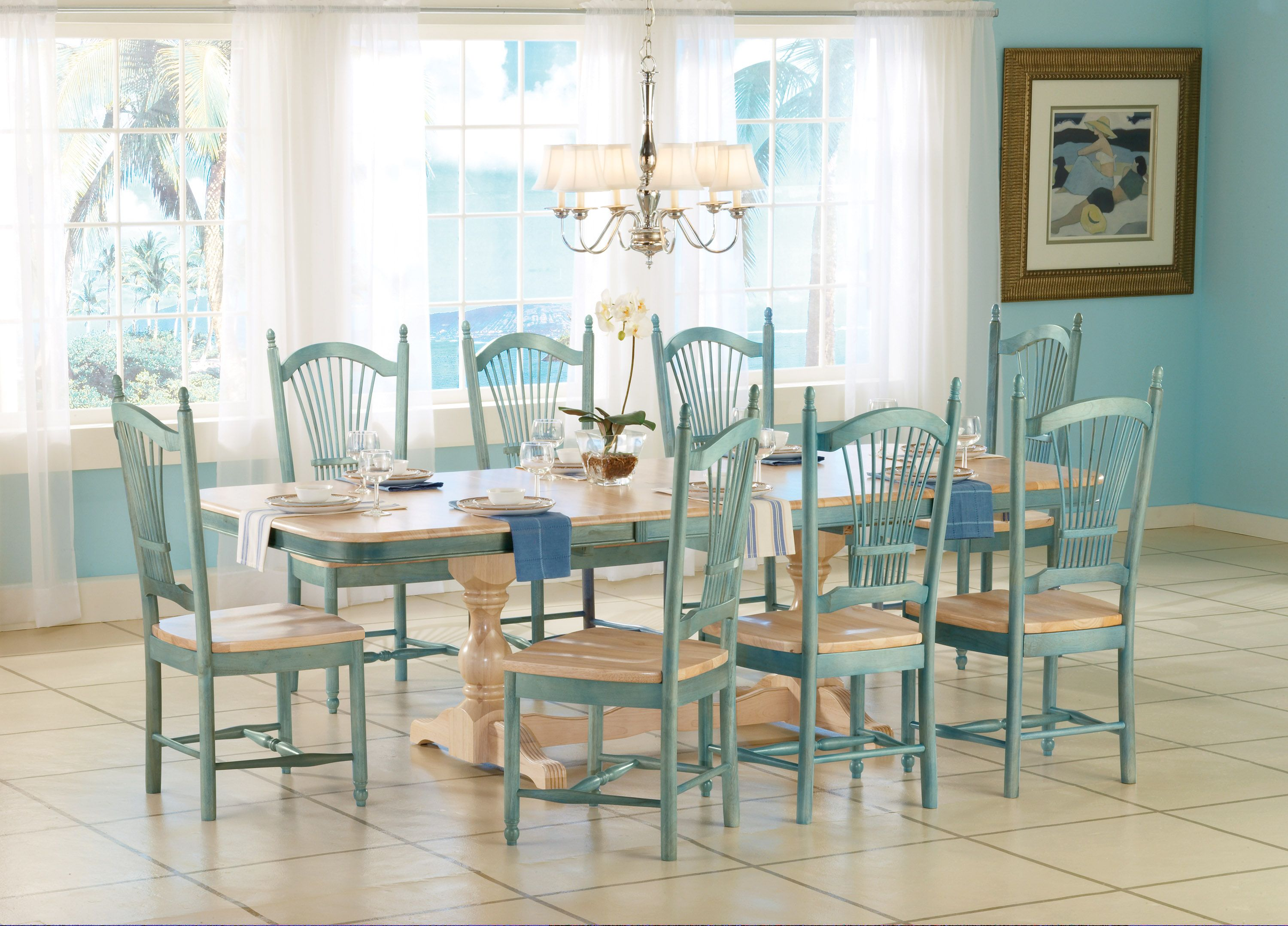 Washed Blue Dining Hardwood Table Unfinished Dining Chairs