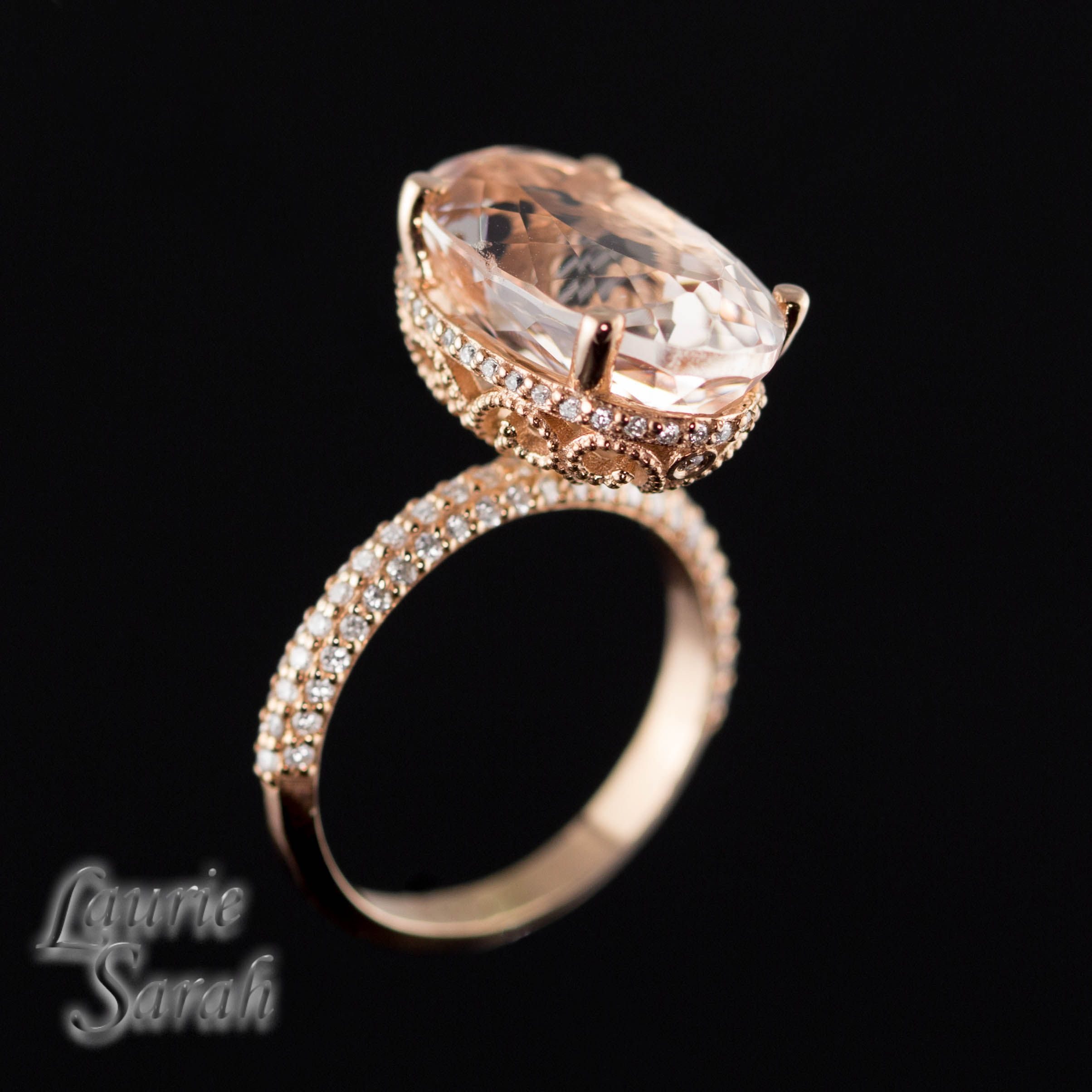 Our Blake Lively Inspired 7 Carat Morganite Engagement Ring With Diamond Set In The Halo And