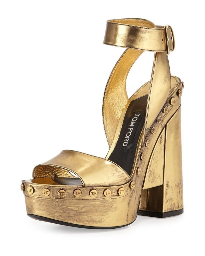 Tom Ford Metallic Leather Gold Ankle