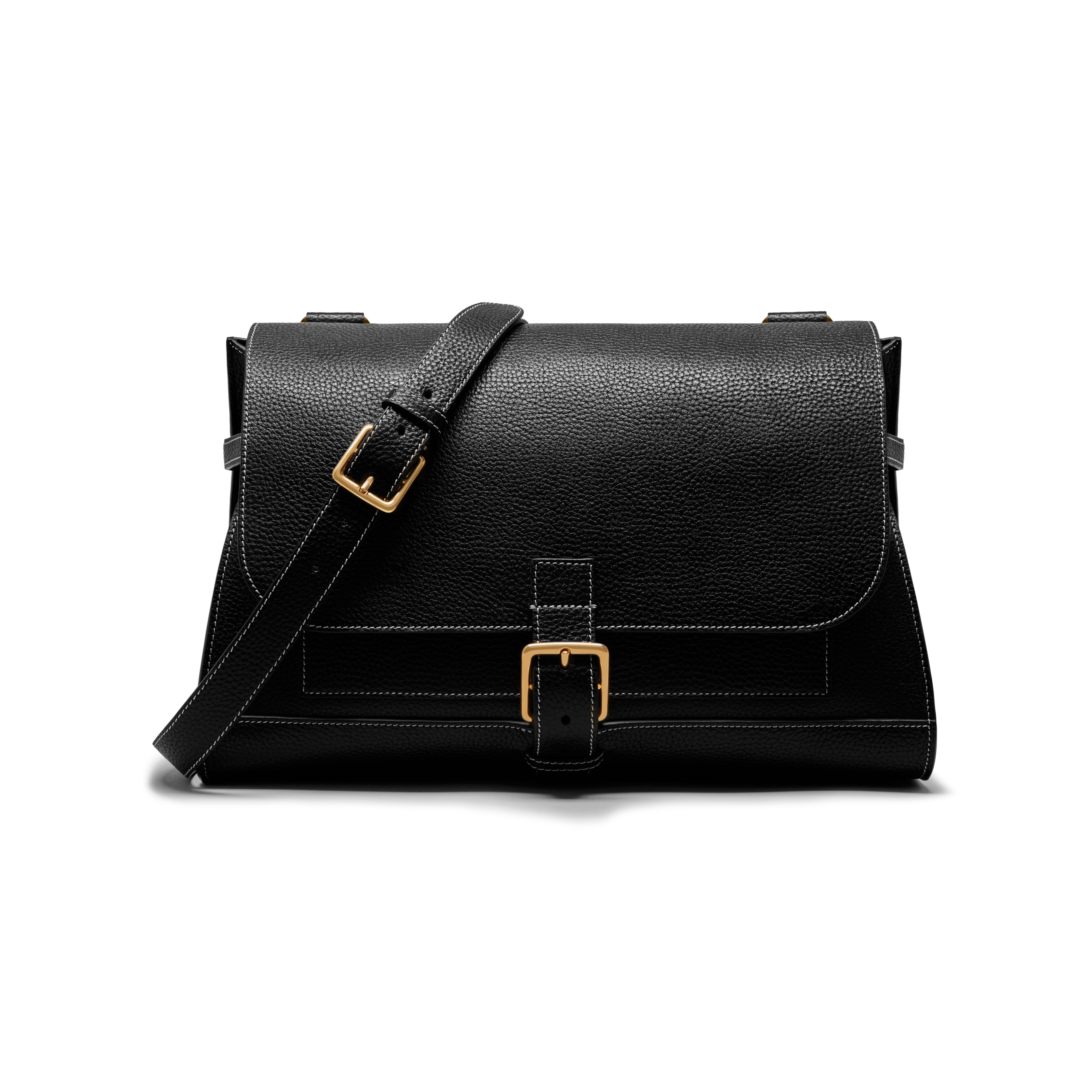 69610b5c4a Mulberry - Small Buckle Satchel in Black Natural Grain Leather ...