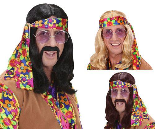 New Long Blond /& Black John Lennon Wig Hippie Hippy 70/'S Dude Fancy Dress