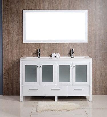 Brezza 60 white frosted glass bathroom vanity double - Bathroom vanity with frosted glass doors ...