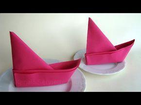 Servietten falten: Anleitung Boot - Ideen für Tischdeko basteln
