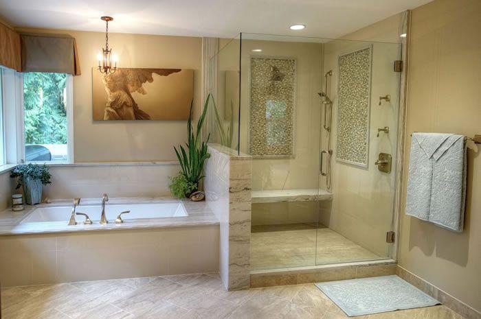 Pin By Sherrena Aycoth On Bathroom Ideas Stone Tub Shower Soaking Tub Shower Combo Stone Tub