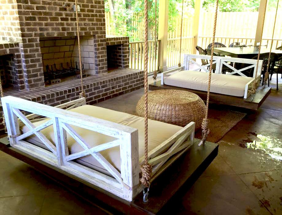 Saltaire daybed swing free shipping saltaire for Round hanging porch bed