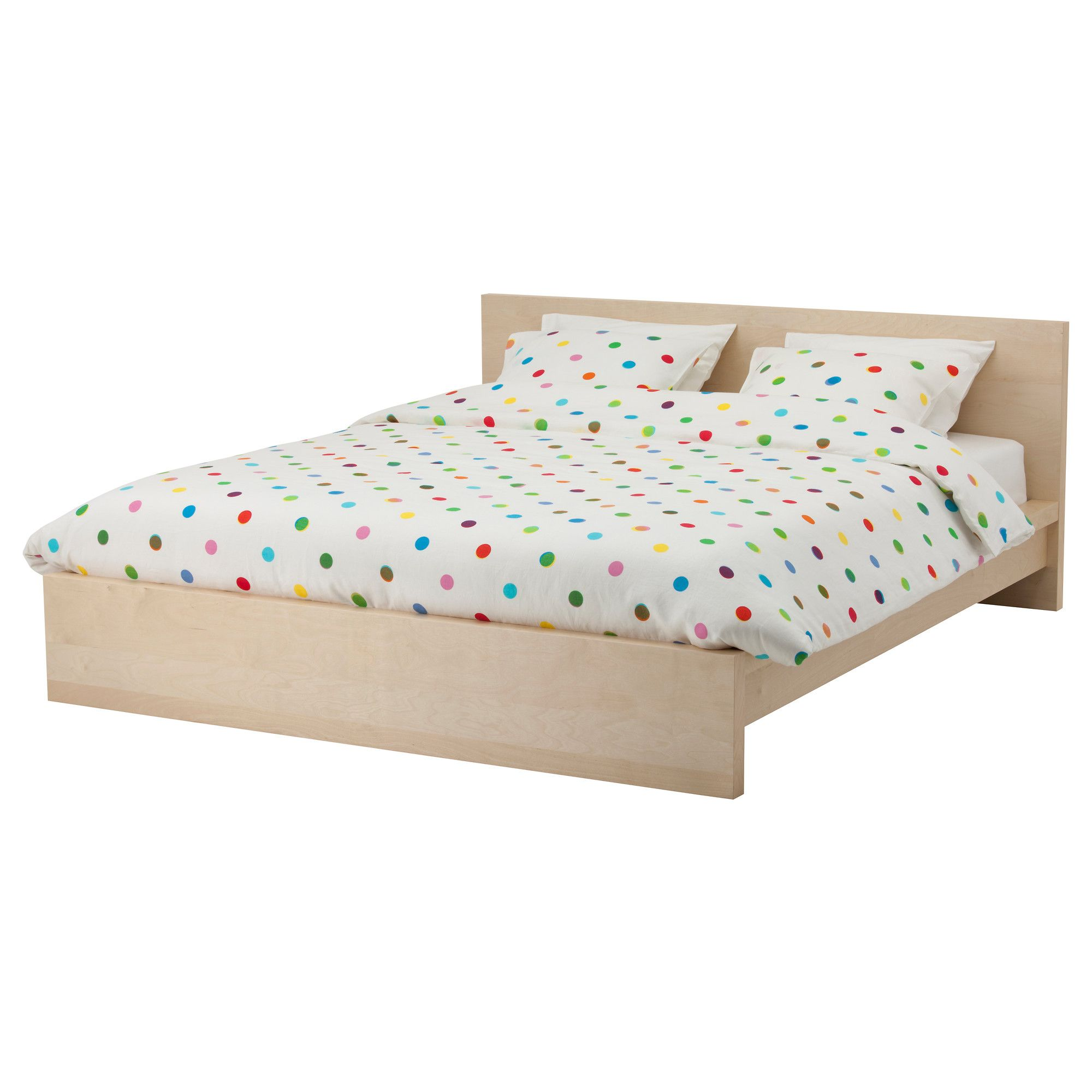 MALM Bed frame, low - white stained oak veneer, Queen - IKEA ...
