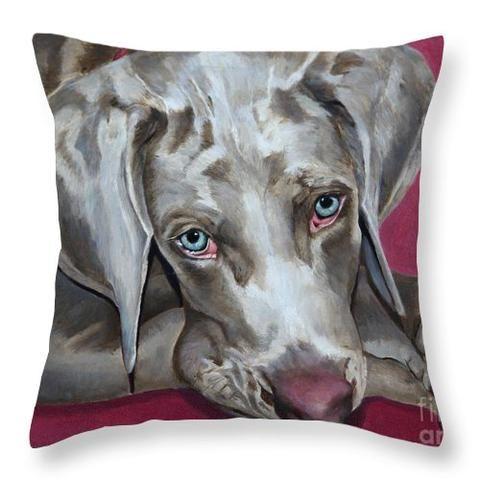 Scooby Weimaraner Pet Portrait Throw Pillow Pet Portraits Dog Portraits Custom Dog Portraits