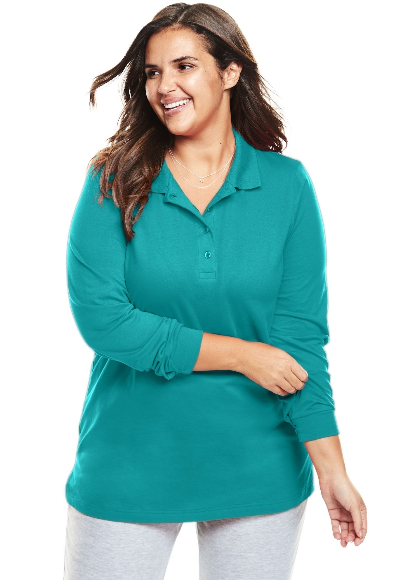 212c95e3 Perfect polo tunic with long sleeves - Women's Plus Size Clothing ...
