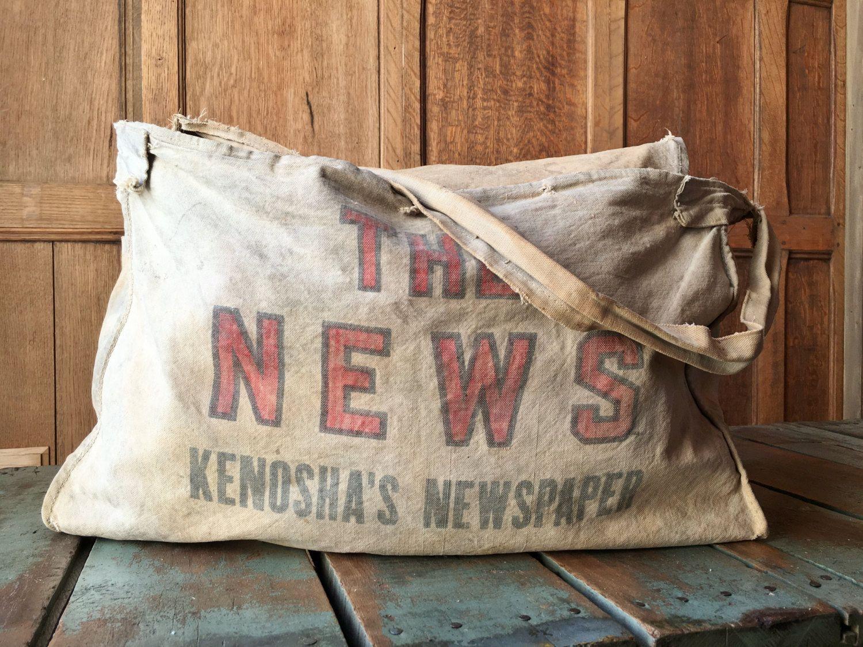 Vintage Newspaper Delivery Bag The News Kenoshas Newspaper Mail Bag Messenger Bag Paperboy Delivery Bag Bags Newspaper Delivery