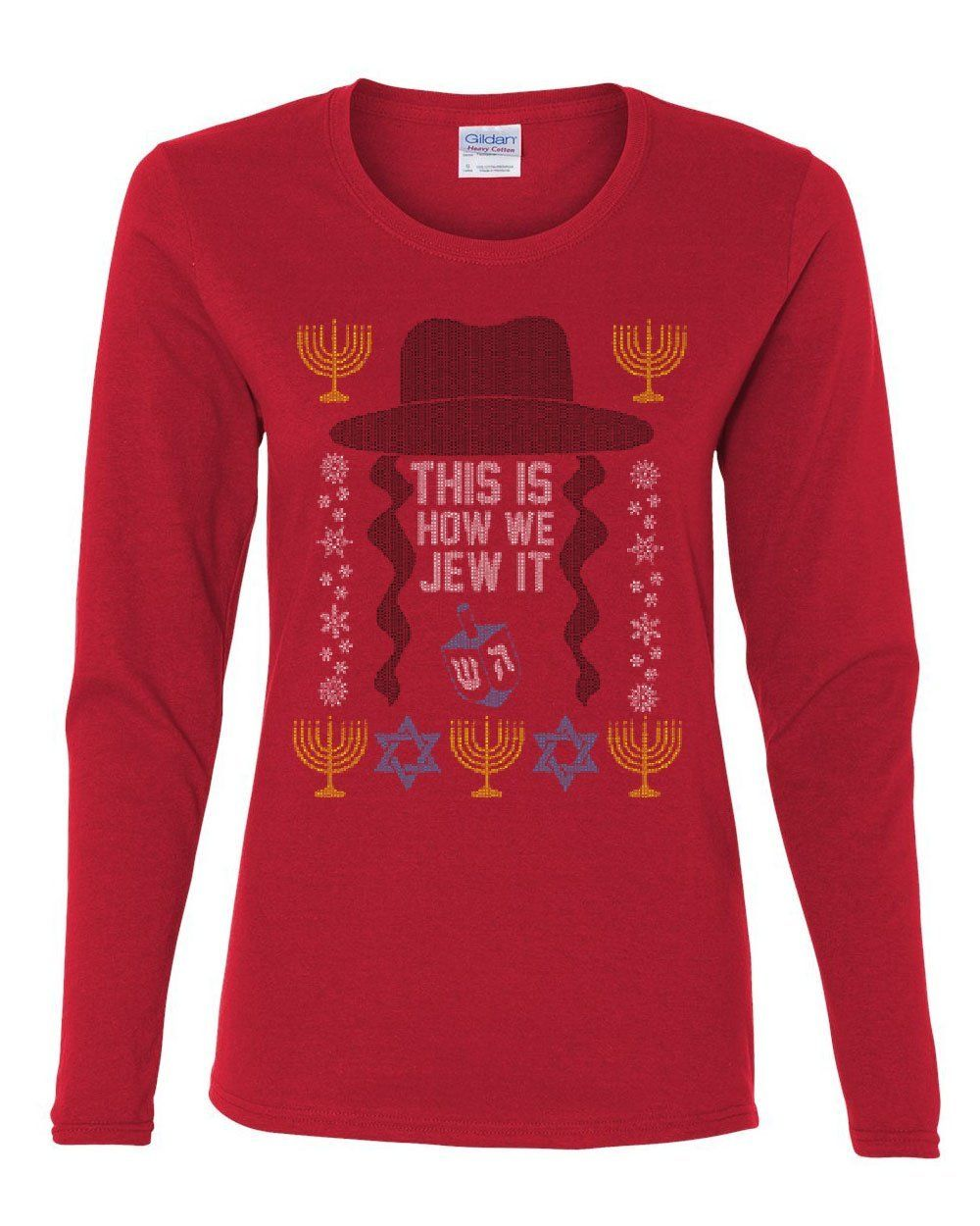 b37ff670 This Is How We Jew It Women's Long Sleeve Tee Funny Menorah Star of David  Jewish