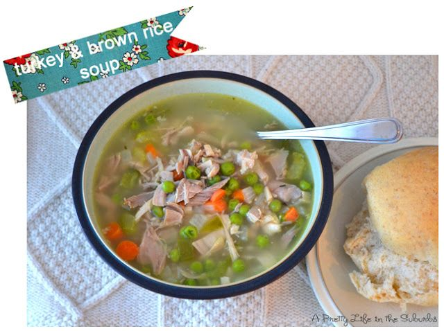 """""""Turk'y"""" and brown rice soup. Pinning for the method (need to use up leftover veg. Quorn Turk'y)"""
